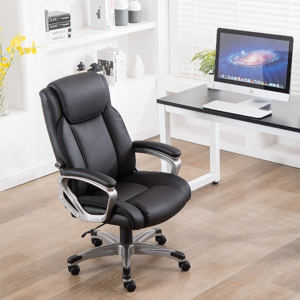 Enjoyable Canmov Ergonomic High Back Leather Office Chair Thick Padding Computer Desk Chair With 900 1100 Tilt Lock And Adjustable Lumbar Support Black 1 Unemploymentrelief Wooden Chair Designs For Living Room Unemploymentrelieforg