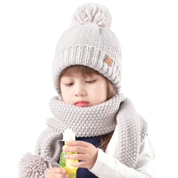 8bde9c10c51d11 Aged 2-8 Grey FURTALK Kids Winter Pom Knit Hat Cashmere Feel Toddler Beanie  Cap for ...