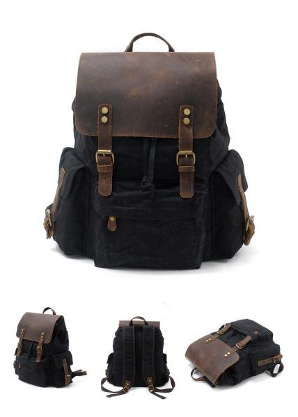 beaf01e4cc67 REDSWAN Vintage Canvas Leather Laptop Backpack for Men School Bag 15