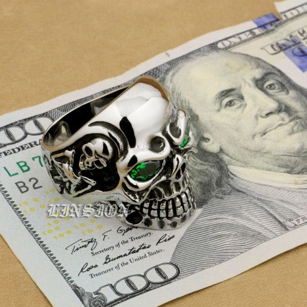 316L Stainless Steel Green CZ Eyes Titan Skull Ring Men Biker Ring 3A301 US Size 12