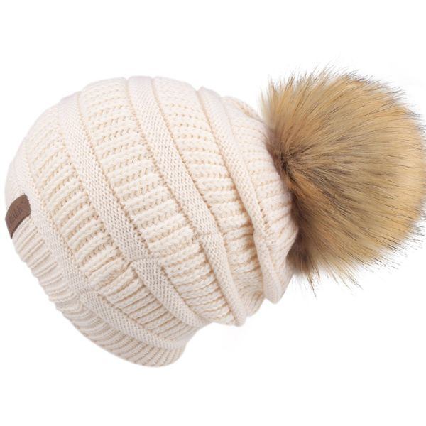 FURTALK Kids Girls Boys Winter Knit Beanie Hats Faux Fur Pom Pom Hat Bobble Ski Cap Toddler Baby Hats Beige A029