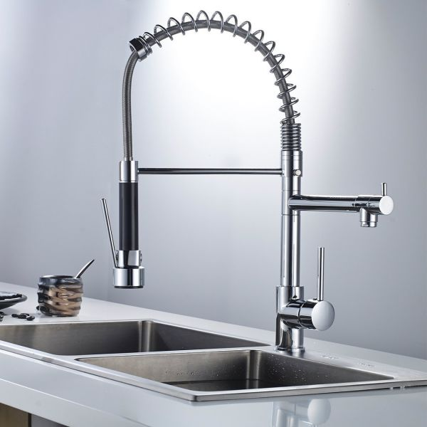 FLG Modern High Spring Single Handle Single Hole Kitchen Sink Faucet with  Pull Down Sprayer Mixer Tap, Chrome 1 Piece / Box