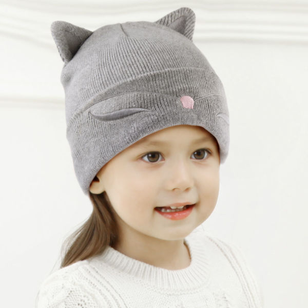 48bce4dc Toddler Kids Cat Ear Hats Winter Beanie Knit Caps Boy Girl Christmas HTWL048