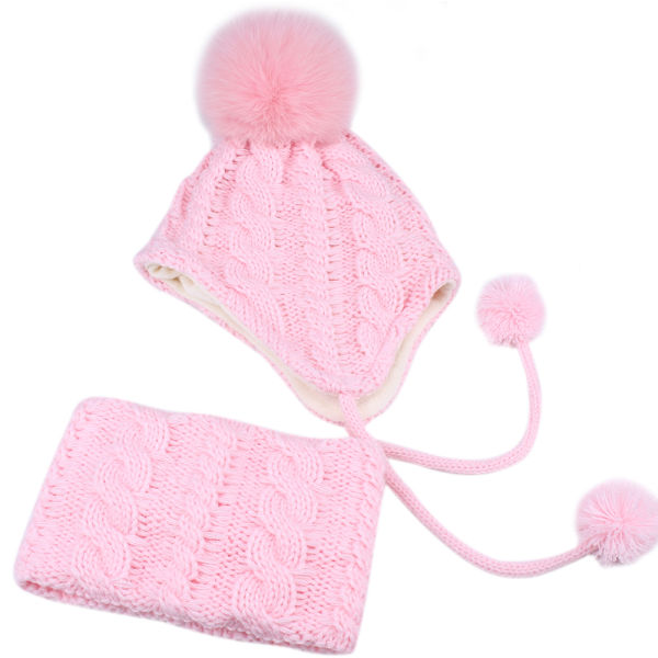 FURTALK Kids Winter Hat and Scarf Set for Baby Girls Boys Toddler Knit Beanie Hat Fox Fur Pom Pom Ears Flap Hats Fleece Lining SFFW004