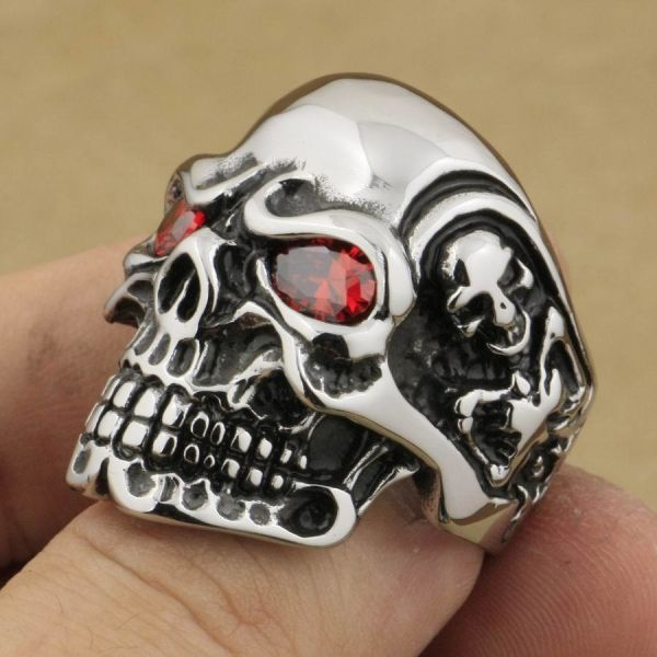 Shop For 316l Stainless Steel Red Cz Eyes Titan Skull Ring