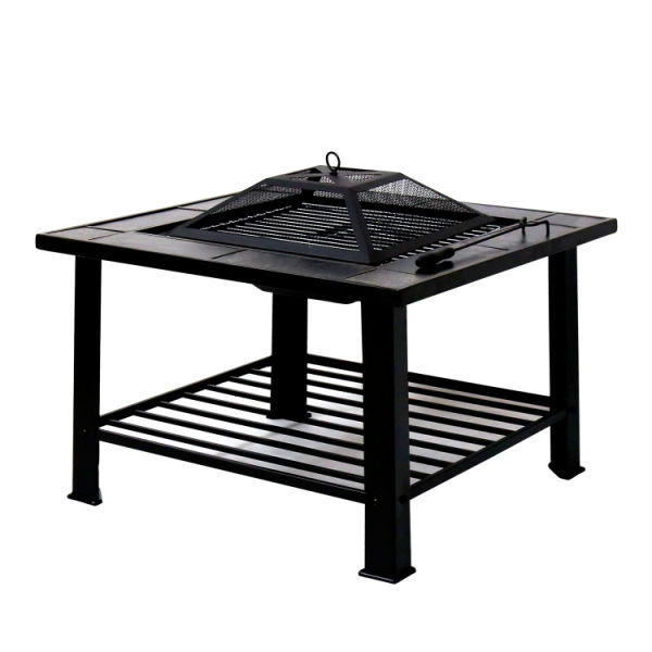 Kinbor 30 Outdoor Fire Pit Square Metal Firepit Backyard Patio Garden Stove Wood Burning With Cooking Grill Spark Screen And Cover 1 Piece