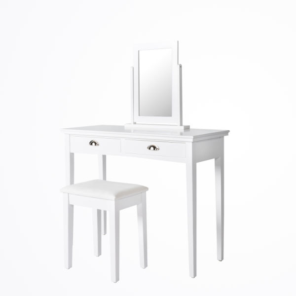 . Kinbor Wooden Vanity Dressing Table Set Makeup Table Jewerly Organizer  1  Cushioned Stool   2 Drawers  White 1 Piece   Carton