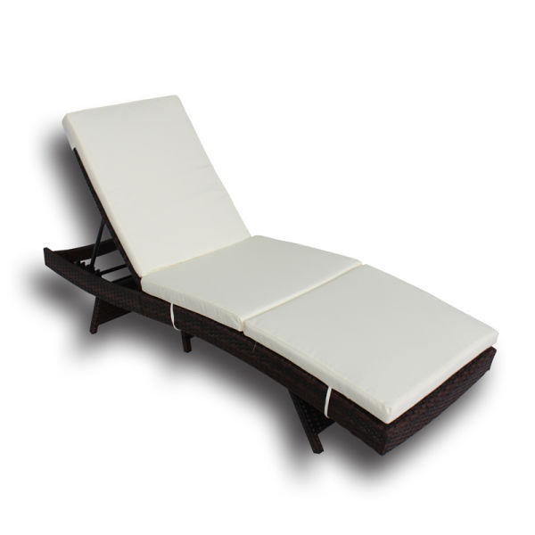 Patio Chaise Lounge Pe Brown Rattan Furniture Garden Lounger Chair Outdoor Pool Sunbed 1pc Beige Cushion