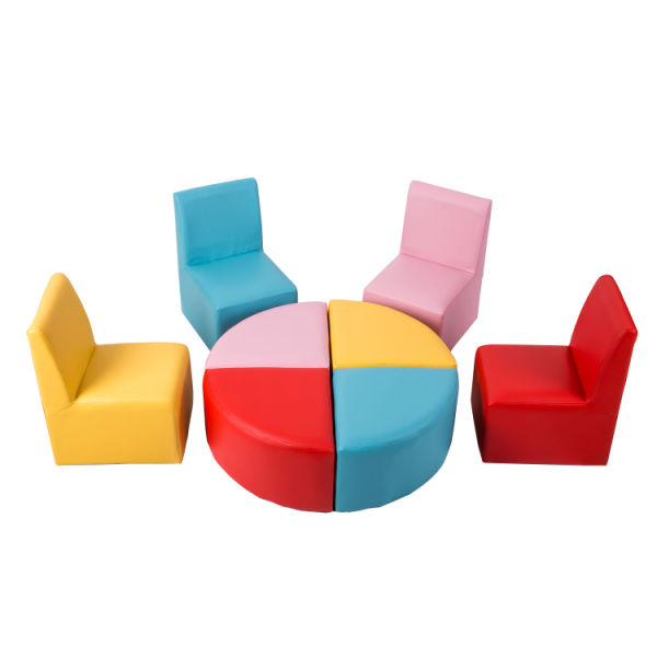 Magnificent Kinbor Kids Sectional Sofa Preschool Chairs With Stool Foam Play Set For Toddlers Activity Table Chair Set 4 Pieces Box Machost Co Dining Chair Design Ideas Machostcouk