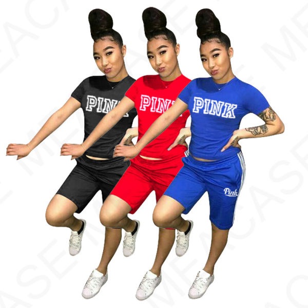 Pink letter Women outfits Fashion Suits Designer t-shirts tops tee + shorts Two piece suits Tracksuits 2pcs Clothing Sets Tshirts Pants Candy Color D32507
