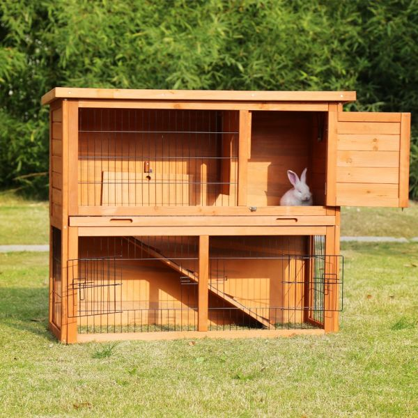 Kinbor Wooden Rabbit Hutch Bunny Cage Small Animal House Hen Poultry 3 Doors