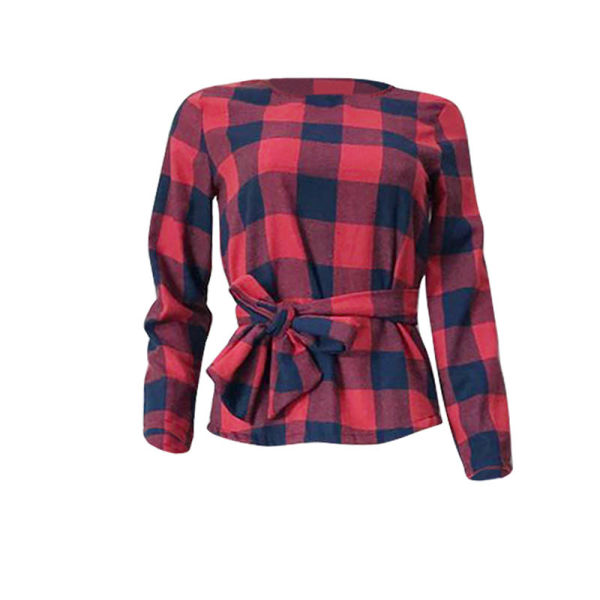 L99174 Women Blouses Long Sleeve Casual Classic Red Black Plaid Top