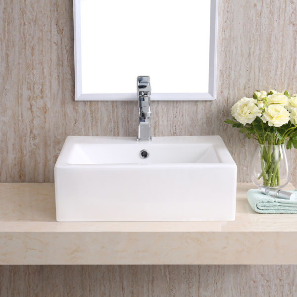 CHANGIE Above Counter Rectangular Vanity Bathroom Ceramic Vessel Basin 6026W, White, 20 x 16 Inches