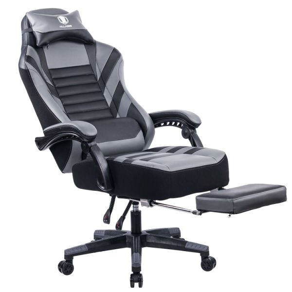 Killabee Big And Tall 400lb Memory Foam Reclining Gaming Chair Adjustable Back Angle And Retractable Footrest Ergonomic High Back Leather Racing
