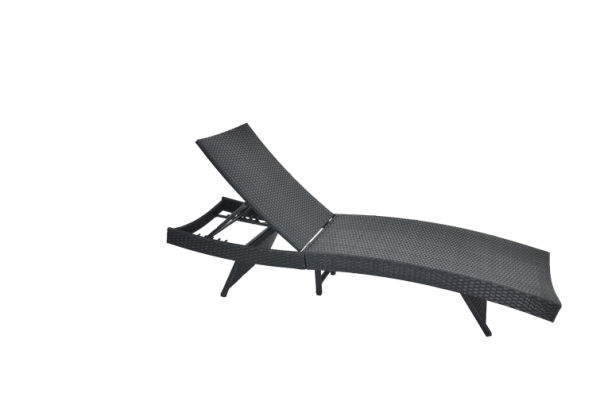 Shop For Outime Adjustable Patio Black Woven Rattan Lounge Chair