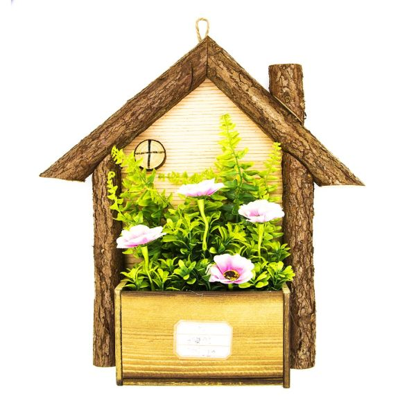 Wood House Hanging Planter For Air Plants Or Indoor Small Wall Decor Scape Planters Vase Faux Succulent Plant Houseplant Holder