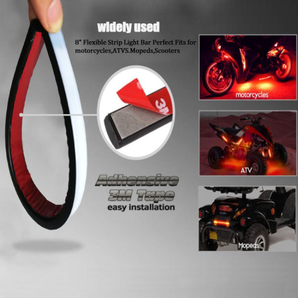 "TSIALEE Motorcycle Led Tail Light Strip for License Plate Brake Stop Turn Signal Light Strip 9LED 8"" Flexible Third Brake Light for Motorbikes Harley Davidson ATV Scooters"