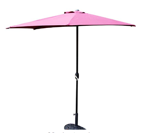 Kinbor Half Round 5 Ribs 10ft Outdoor Aluminum Patio Umbrella Wall Window Corner Crank Without