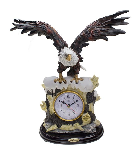 American Eagle Statue Clock Resin Sculpture Decoration Spread Wings Home Decor