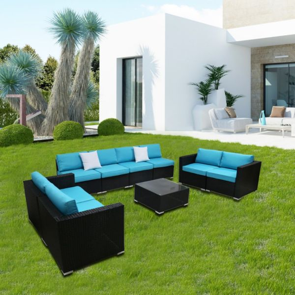 Kinsunny 9pcs blue sofa set 2 Pieces / Box
