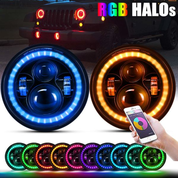 Jeep Lj For Sale >> Shop for 7'' inch Round LED Headlights w/RGB Halo Ring Hi ...