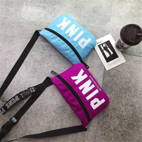 Women Men PINK Letter Fanny Pack Crossbody Bags Belt Nylon Waist Bag Shoulder Backpacks Beach Travel Street Fashion Handbags P61405