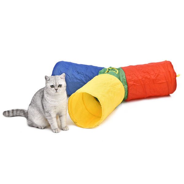 bd92fd076d2 Pet Toy Cat Tunnel Crinkle Dog Tube Colorful Design Rainbow Style 3 Short  Legs 3 Way