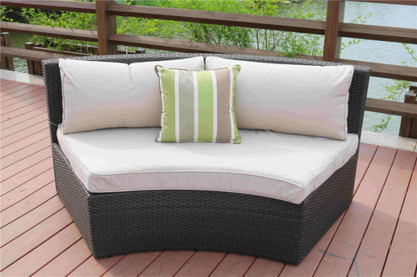 Direct Wicker Outdoor And Garden Patio Sofa Set 6PCS Reconfigurable Stylish And Modern Style With Seat Cushion and Coffee Table