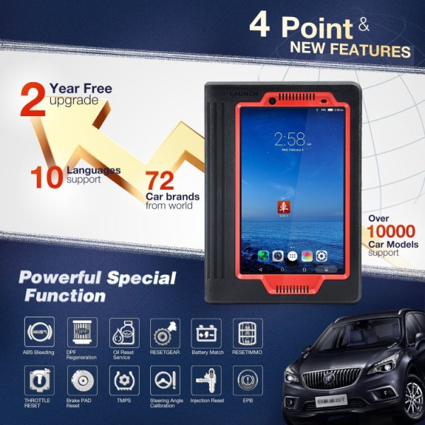 Launch X431 V (X431 PRO) 8inch WiFi/Bluetooth Full System Diagnostic Tool  support injector coding and Key coding, 2 Years Free Update 1 Set / Box