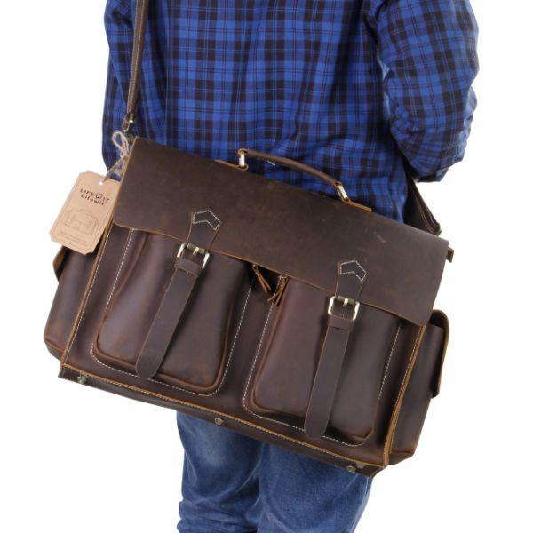 Lifewit Men Vintage Leather Laptop Bag 15.6