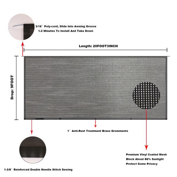 Shop for Tentproinc RV Awning Sun Shade 9' X 20' 3'' Black ...
