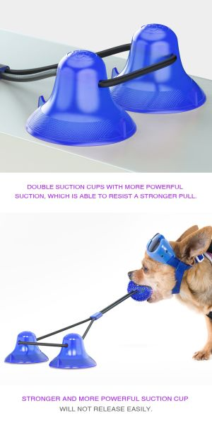 Double Suction Cup Rope Puzzle Toy Pet Molar Bite with Suction Cup Pet Molar Bite Toy Cleaning Teeth Safety Pets Supplies with Improves Oral Health and Food Dispensing Features Molar Training-Purple