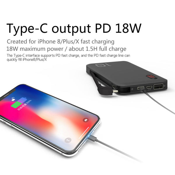 Power Bank 10000mAh Small Portable Charger with Built-in Micro USB Cable  External Battery Charger Pack Fast Charger for iPhone Android Samsung  Galaxy