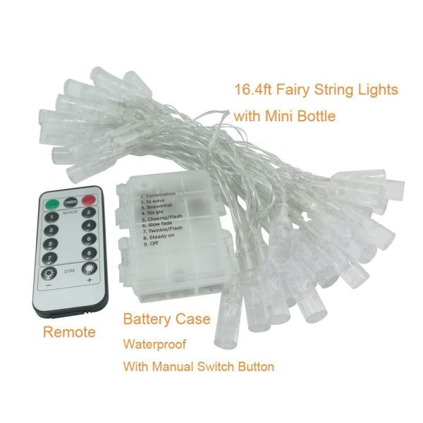 shop for fairy string lights battery operated remote control outdoor indoor waterproof 8 modes. Black Bedroom Furniture Sets. Home Design Ideas