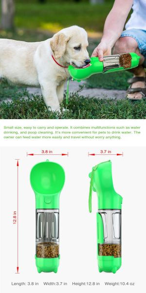 Dog Water Bottle for Walking and Food Container 3 in 1Pet Dog Travel Bottle multi-function Feeding, Watering, Poop Bag, Outdoor Dog Bottle Pet Supplies New design Amazon Hot Sell, Green