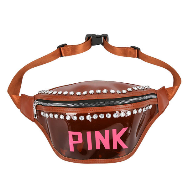 Jelly Color Women Pink Fanny Packs Letter Printed Diamond Waist Belt Bags Girls Waterproof Crossbody Bag Adjustable Shoulder Bags