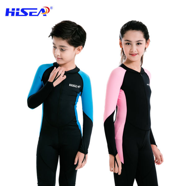 0.5mm Girls Boys Rash Guards Long Sleeve Kids Swimsuits Full Suits One Pieces Diving Suits Wetsuits Children Swimwear CO