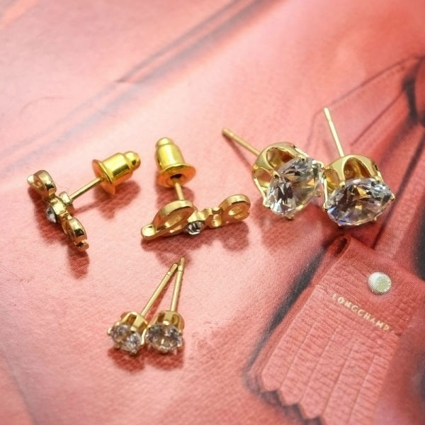 082dc9bf6 Leiiy Exquisite Faceted Transparent Zircon Stud Earrings Set With Gold  Plated Love Letter Stud Earrings For