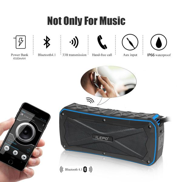 Dustproof Wireless Bluetooth Speaker with Waterproof IP66 Shower /& Home Speaker Green Color Shockproof and Rechargeable Lithium-ion Polymer Battery for Travel Camping,Beach
