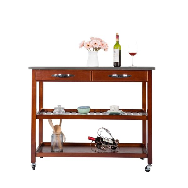 3 Tier Wood Rolling Kitchen Island Utility Serving Cart W Stainless Steel Countertop Ious Drawers And Lockable Wheels 1 Piece Carton