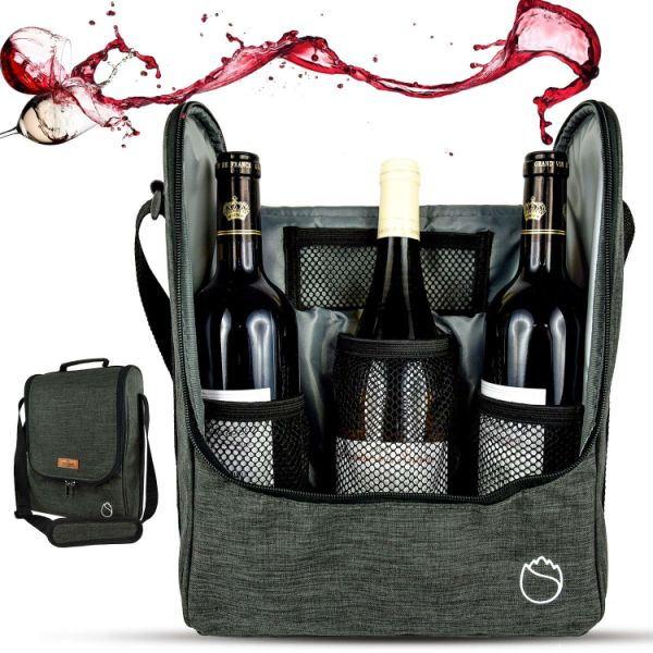 Freshore Insulated Wine 3 Bottle Carriers Tote Travel Cooler Gift Bag For  Airplane Liquor With Padded dddefe0ed6