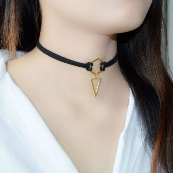 49cc629118f4e Leiiy Black Leather Choker Necklace Wrap Gold Plated Geometry With Triangle  Pendant For Women Girls 1 Piece / Bag