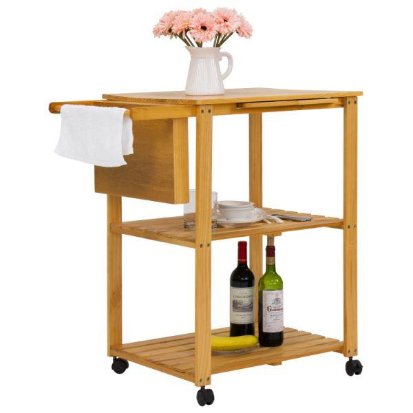 Kinbor 3-Tire Natural Wood Kitchen Utility Cart Work Island Portable  w/Cutting Board 1 Piece / Carton