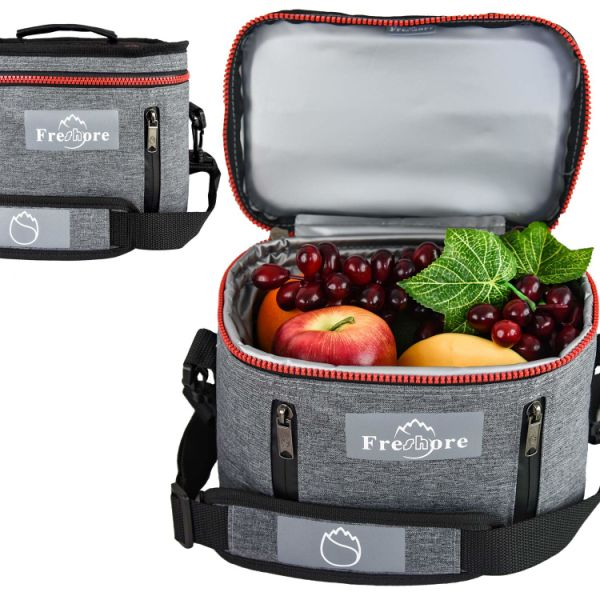 fa56b442cbc8 Freshore Insulated Lunch Kit Tote Slim Box Small Bags for Women/Men/Compact  with Meal Prep Containers Ice Pack - Crossbody with Adjustable Shoulder ...