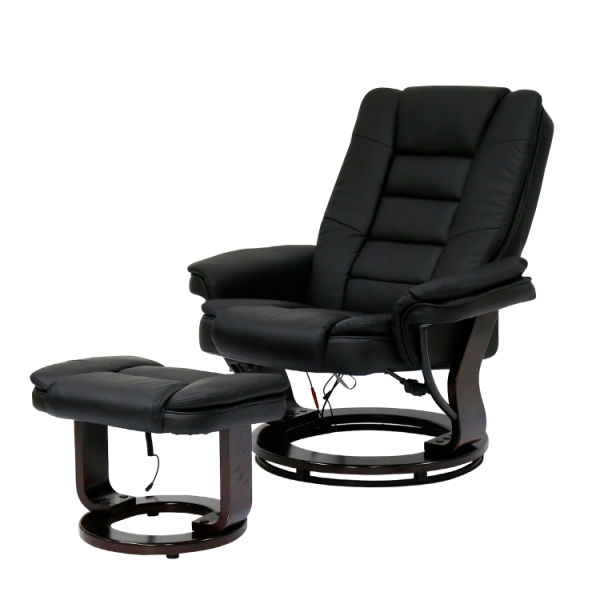 Astounding Kinbor Contemporary Leather Lounge Swivel And Massage Recliner Chair With Foot Stool Ottoman Black 1 Piece Carton Ibusinesslaw Wood Chair Design Ideas Ibusinesslaworg