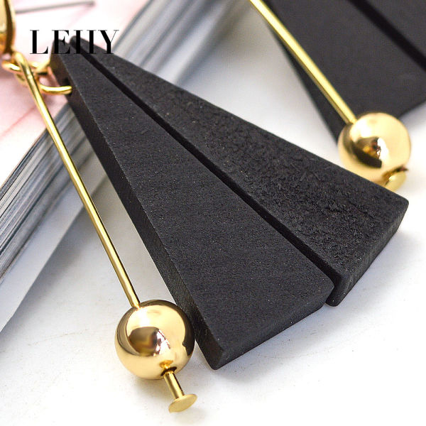 Leiiy Trendy 2 Colors Triangle Natural Wood Tassel Drop Earrings For Women Gold Plated Ball Dangle Earrings Fashion Jewelry
