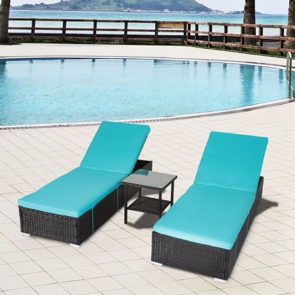 Amazing Kinbor 1Pcs Outdoor Patio Adjustable Black Pe Wicker Pool Chaise Lounge Chair Blue 1 Piece Carton Dailytribune Chair Design For Home Dailytribuneorg
