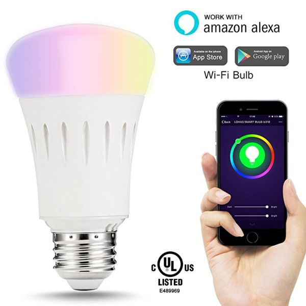 [10 Pack] Smart Bulb, 16 Million Colors Available, Dimmable, A19,9W (60 Watt Equivalent), 810 Lumens, Timer, Wi-Fi, UL Certified, No Hub, Works with Alexa and Google Home, Voice Controlled