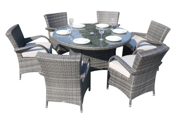 Direct Wicker Outdoor Patio Furniture 7pcs Cast Aluminum Dining Table And Chair 1 Set