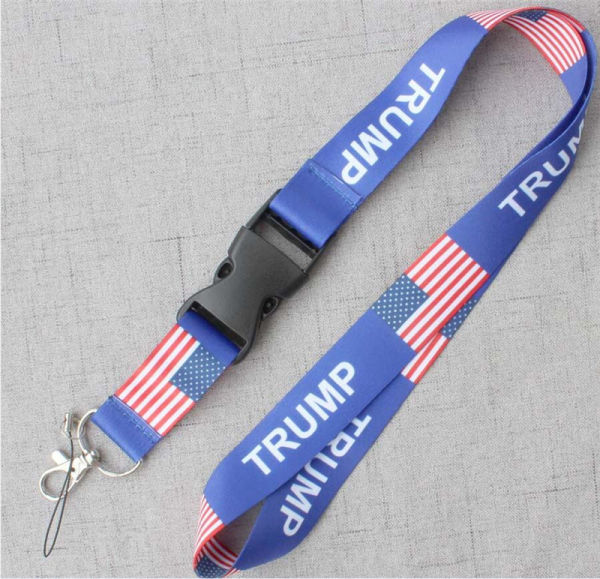 TRUMP Lanyard Chest Card Strap US Removable Star Flag of The United States Key Chains Meeting Hanging Rope Card Holder Slings Strings B71604